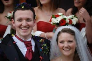Josh & Laura on their wedding day