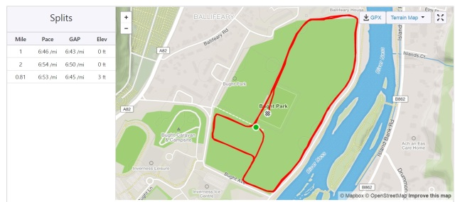 Inverness parkrun map